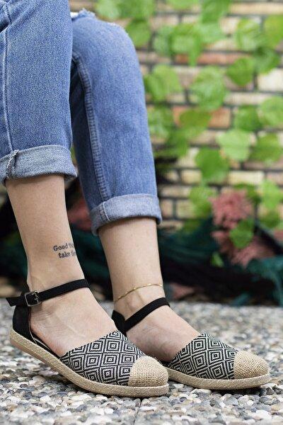 Kadın Siyah Hasır Detaylı Günlük Ayakkabı 0012ys03