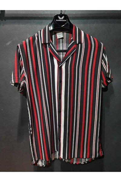 Siyah Çizgili Kısa Kollu Yazlık Viskon Gömlek