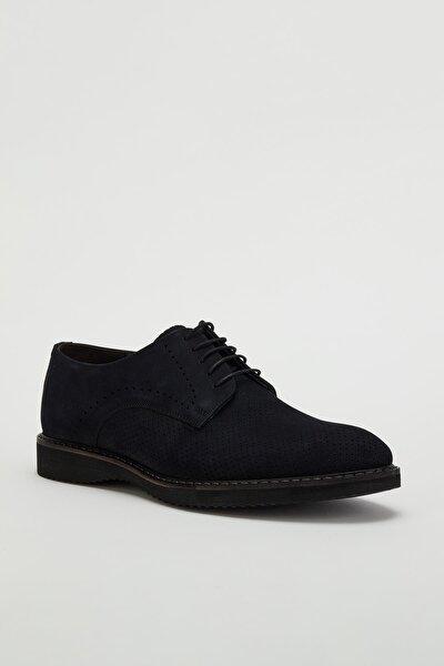 Erkek Lacivert Hakiki Deri Klasik Ayakkabı Mgtorino07