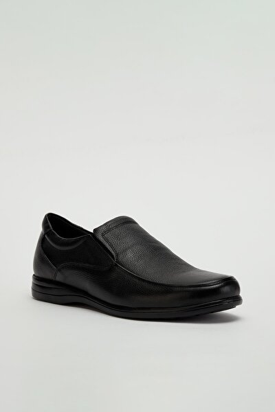 Erkek Siyah Hakiki Deri Casual Ayakkabı Mgoslo05