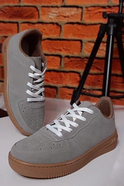 Unisex Gri Süet Sneaker Spor Ayakkabı