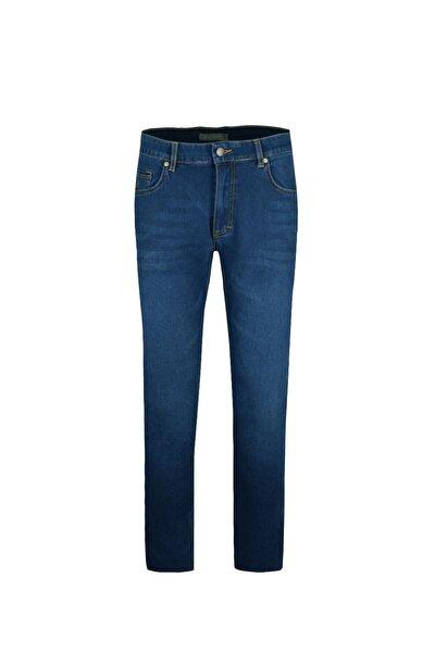 Erkek Slimfit Mavi Comfort Likralı Bilek Paça Denim Pantolon