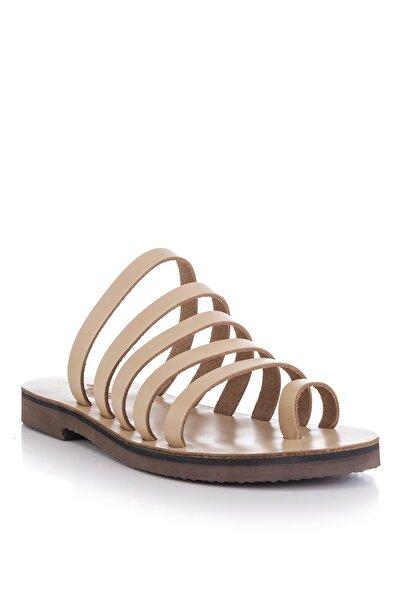 El Yapımı Hakiki Deri Natural Kadın Sandalet - 5136