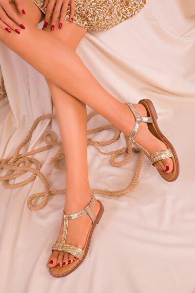 Altın Kadın Sandalet 15911