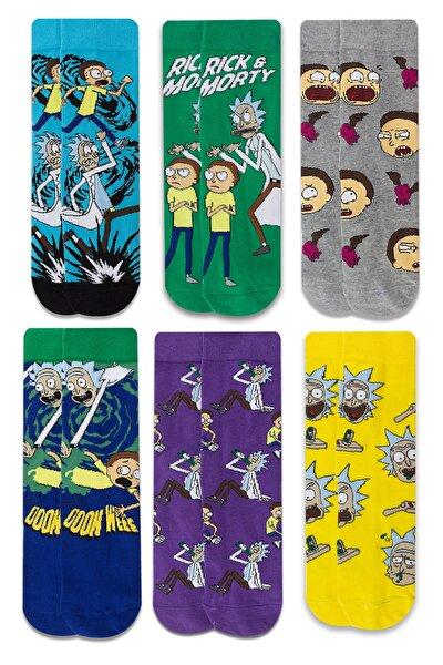 Rick & Morty Desenli 6 'lı Renkli Çorap Seti