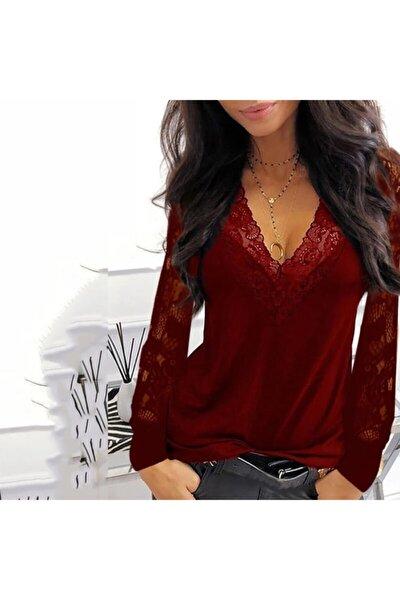 Kadın Bordo Dantel Detay V Yaka Bluz