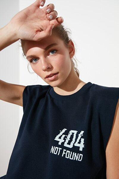 Lacivert Baskılı Kolsuz Spor T-Shirt TWOSS21TS0371