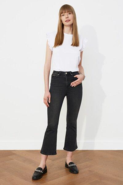 Siyah Yüksek Bel Crop Flare Jeans TWOSS21JE0245
