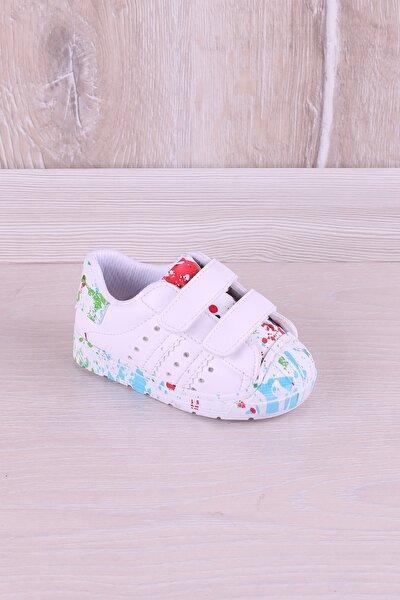 Antibakteriyel Ortopedik Çimkeli Baskılı Ilk Adım Çocuk Ayakkabı Beyaz