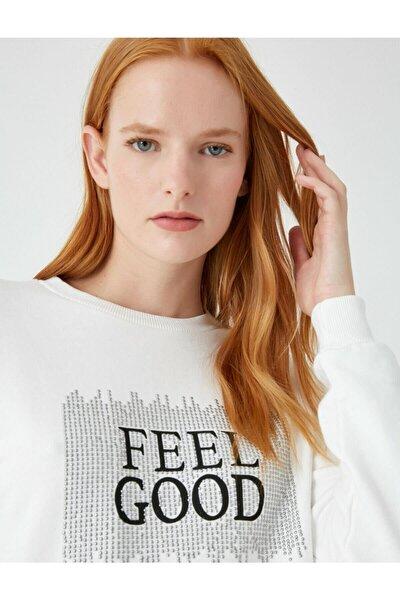 Kadın Beyaz %100 Pamuk Yazili Baskili Sweatshirt