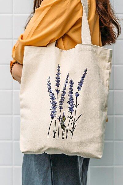 Kanvas Yeşil Dallı Mavi Çiçekler Baskılı Bez Çanta