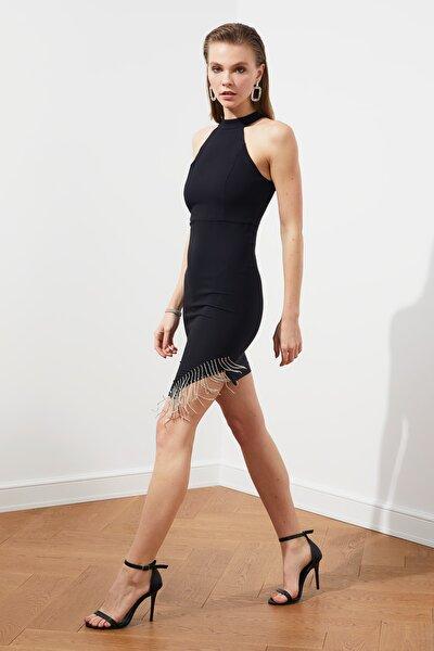 Siyah Taş Aksesuar Detaylı Elbise TPRSS20EL1153