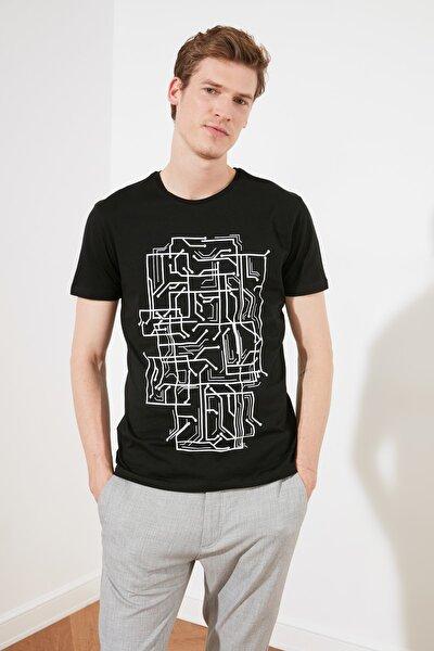 Siyah Erkek Slim Fit Basic T-Shirt TMNSS20TS0088