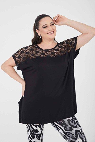 Kadın Siyah  Salaş Büyük Beden T-Shirt