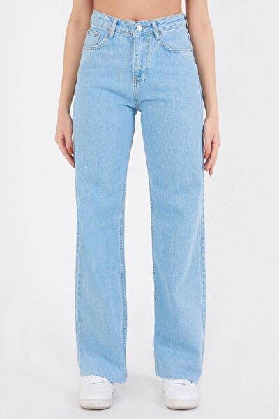 Kadın Açık Kot Rengi Paçası Lazer Kesim Pantolon Pn7067 - Pnf ADX-0000023573