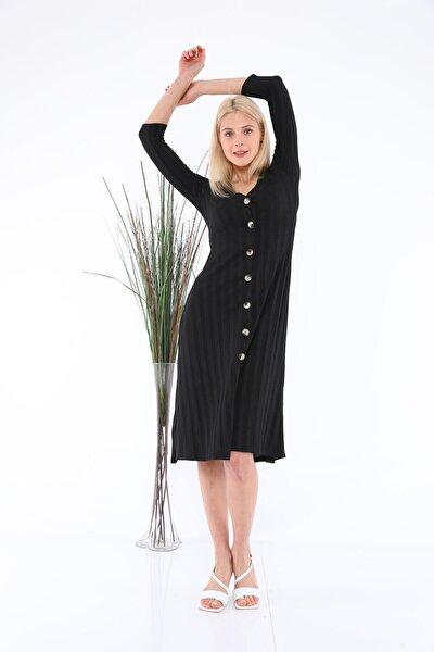 Kadın Siyah Yarım Kol Önden Düğmeli Elbise