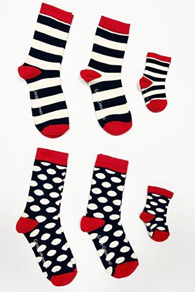 2'li Anne Baba Bebek Çorap Kombini Çember&puan Ekru-lacivert