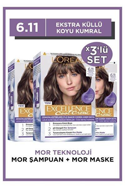 L'oréal Paris Excellence Cool Creme Saç Boyası – 6.11 Ekstra Küllü Koyu Kumral 3'lü Set