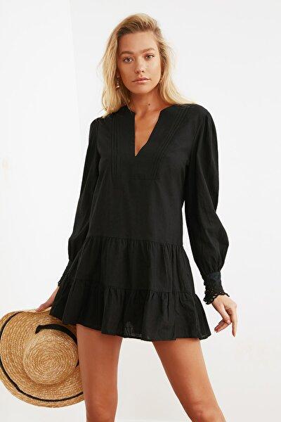 Siyah Manşet Detaylı Dokuma Plaj Elbisesi TBESS21EL1086