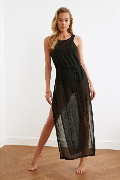 Siyah Derin Yırtmaçlı Örme Plaj Elbisesi TBESS21EL2991