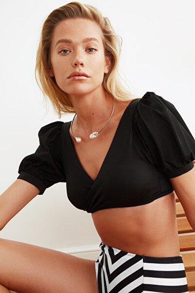Siyah Kruvaze Yaka Bikini Üstü TBESS21BU0050