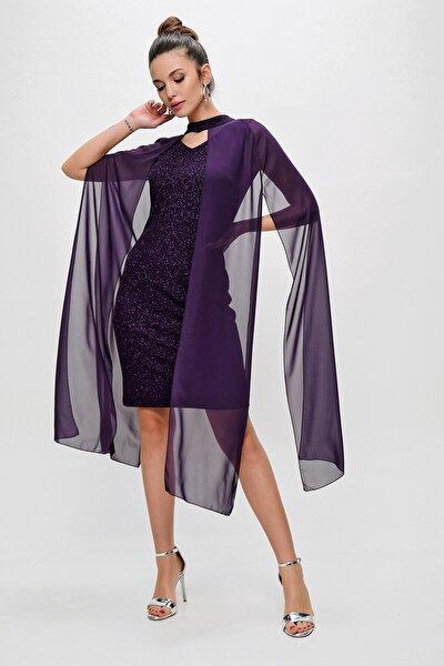 Kadın Askılı Simli Şifon Pelerinli Abiye Elbise