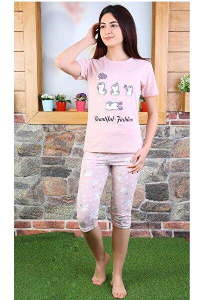 Kız Çocuk Pembe Desenli Pijama Takımı