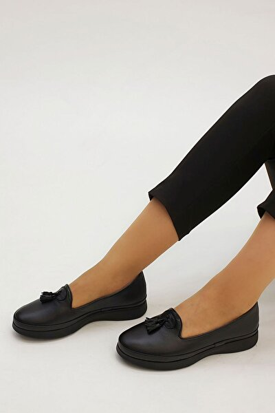 Kadın Siyah Hakiki Deri Comfort Ayakkabı Sore