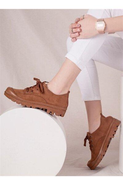 Unisex Kahverengi Bağcıklı Sneaker Ayakkabı Pl03