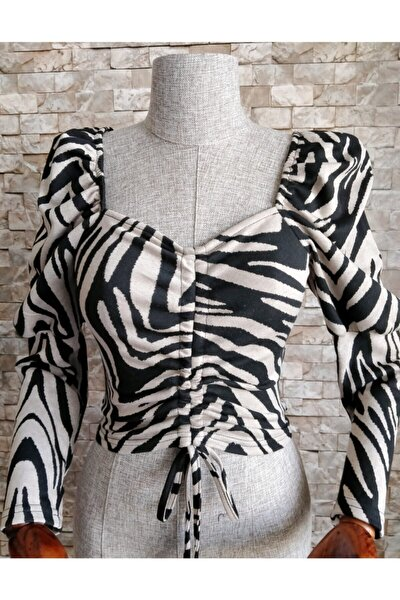 Kadın  Zebra Desen Büzgülü Bluz