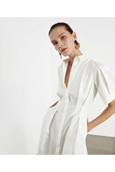 Kadın Beyaz Pilili Poplin Elbise