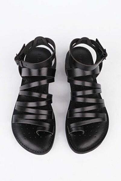 Kadın Siyah Hakiki Deri Günlük Sandalet Saper