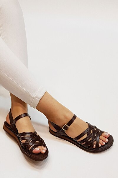 Alen Kadın Hakiki Deri Günlük Sandaletkahve