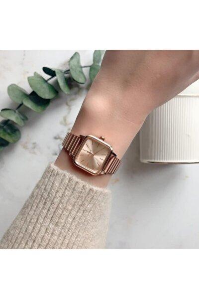 Minimal Kare Rose Gold Kadın Kol Saati