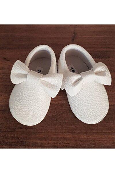 Kız Bebek Fiyonklu Beyaz Makosen