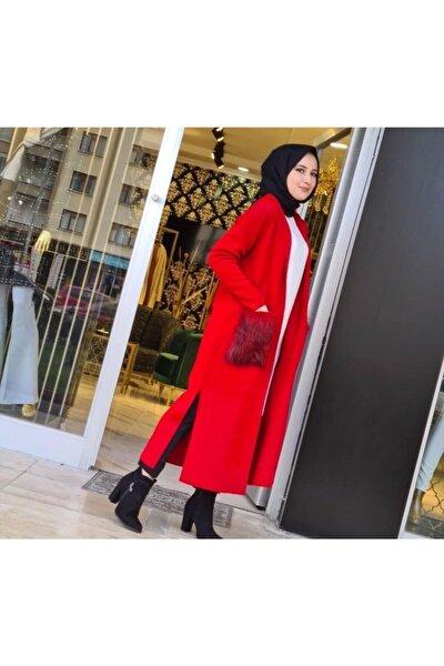 Kadın Kırmızı Çelik Örme Cep Kürklü Hırka