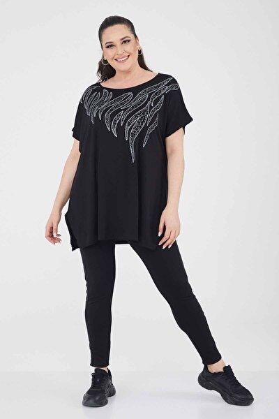 Kadın Siyah Büyük Beden Salaş Yazlık T-shirt