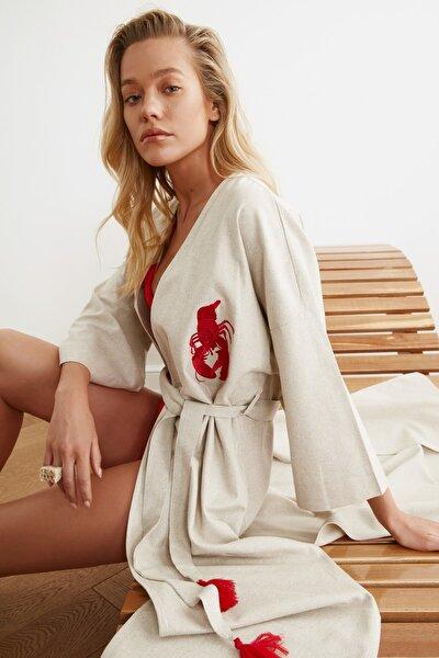 Kırmızı İstakoz Nakışlı Keten Kimono&Kaftan TBESS20KM0051