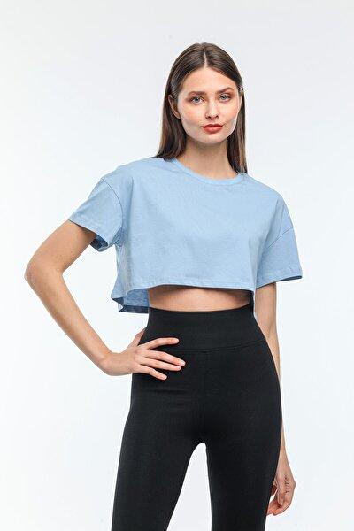 Nairobi Kadın Basic Bisiklet Yaka Crop Top Tişört Kadın Mavi Crop Tişört Mavi Kadın Tişört