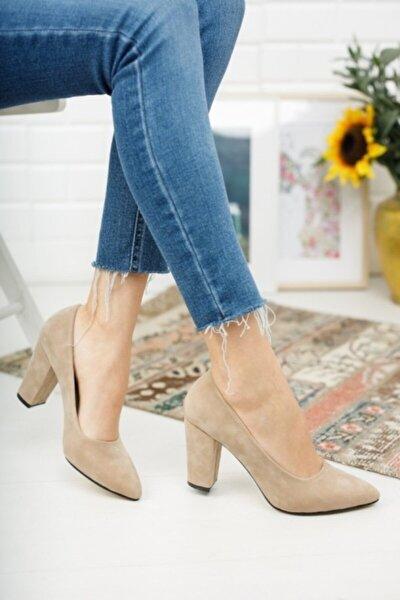 Kadın Ten Süet Yüksek Kalın Topuklu Ayakkabı