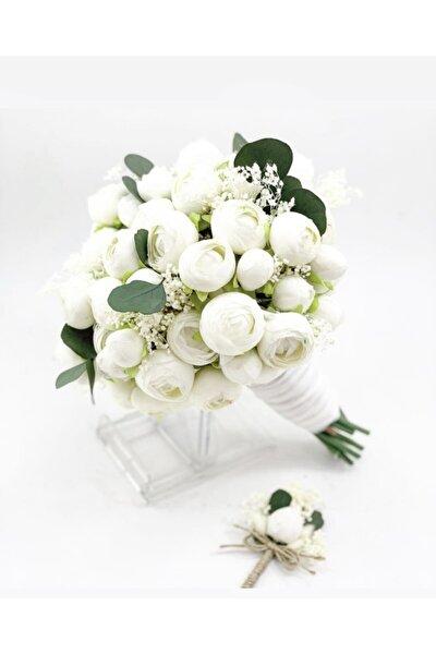 Kadın Beyaz El Çiçeği Gelin Buketi