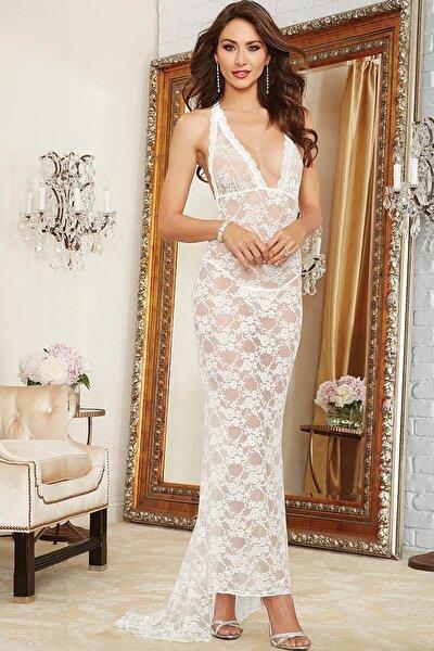 Kadın Beyaz Gecelik Transparan Uzun Dantel Fantezi Giyim