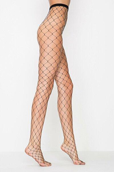 Siyah Buyuk Fıle Külotlu Çorap