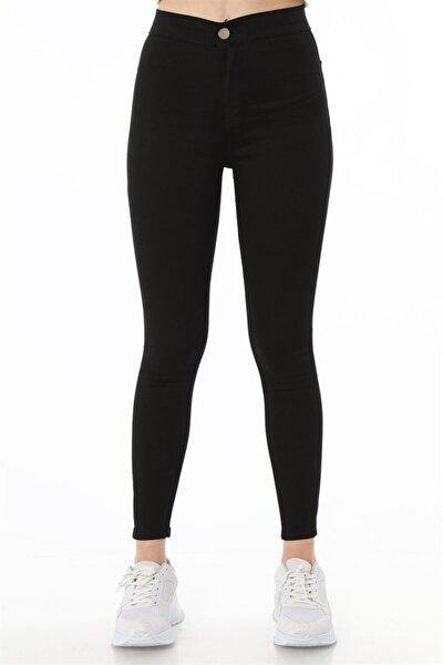 Cepsiz Yüksek Bel Skinny Pantolon - Siyah