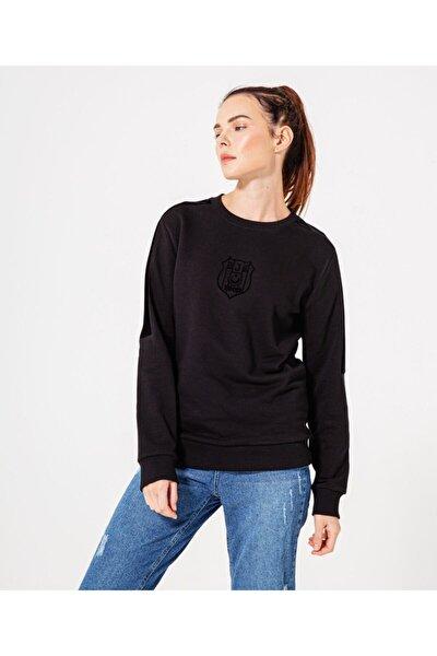 Kadın Siyah Flock Logo Sweatshirt 8920211