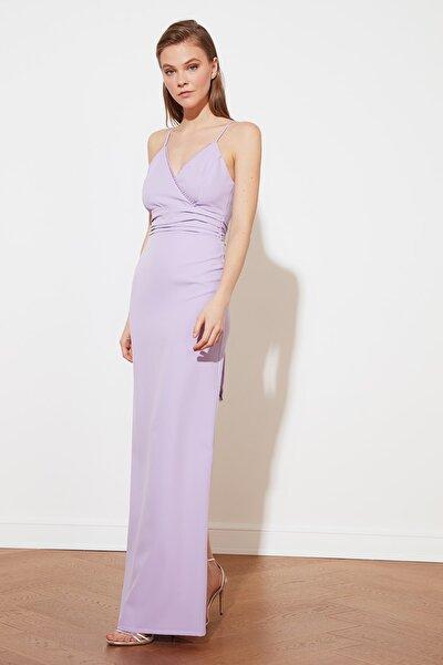 Lila Yaka Detaylı Abiye & Mezuniyet Elbisesi TPRSS21AE0037