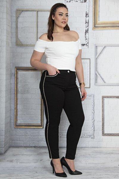 Kadın Siyah Taş Detaylı 5 Cepli Kot Pantolon 65N22948