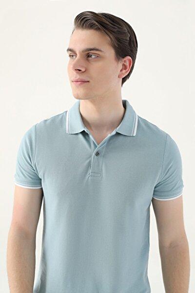 Erkek Yeşil Slim Fit Mint Pike Dokulu T-shirt