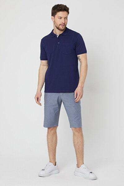 Erkek Lacivert Modern Fit Yaka Garnili Cepli Polo Yaka T-shirt