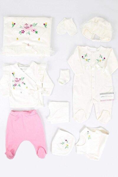 Beyaz Kanaviçeli Krem Kız Bebek 10lu Hastane Çıkışı